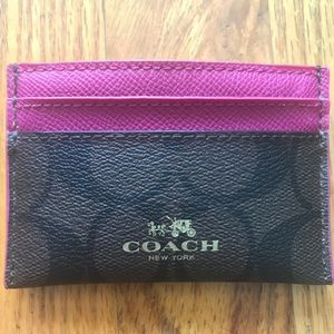 Coach Signature Brown and Pink Card Case